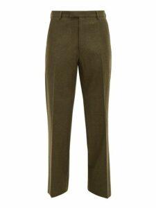 Prada - Loden Wool Straight Leg Trousers - Mens - Green