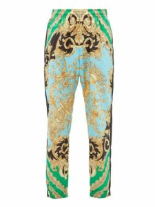 Versace - Baroque Print Shell Track Pants - Mens - Green Multi