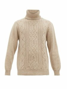 Inis Meáin - Aran Patterned Merino Wool Roll Neck Sweater - Mens - Beige