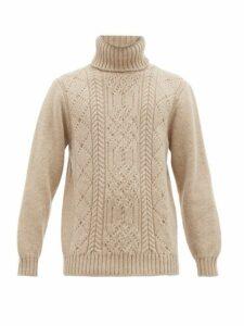 Inis Meáin - Aran-patterned Merino-wool Roll-neck Sweater - Mens - Beige