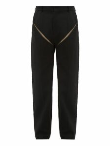 Y/project - Cut Out Wool Trousers - Mens - Black