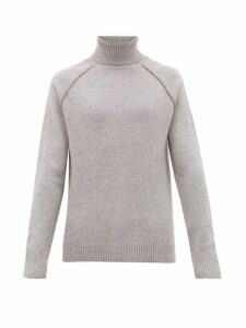 Alanui - Palm Tree-embroidered Roll-neck Cashmere Sweater - Mens - Grey