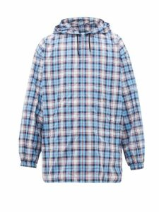 Gucci - Logo Print Checked Hooded Jacket - Mens - Blue Multi