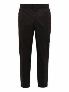 Prada - Logo Plaque Cropped Nylon Gabardine Trousers - Mens - Black