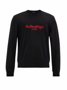 Balenciaga - Embroidered Logo Wool Sweater - Mens - Navy Multi