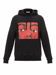 Jw Anderson - Graphic And Text Print Cotton Hooded Sweatshirt - Mens - Black Red