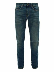 Saint Laurent - Ripped Slim Leg Jeans - Mens - Dark Blue
