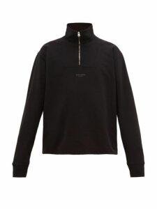 Acne Studios - Faraz Zip Neck Logo Sweatshirt - Mens - Black