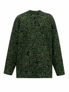 Balenciaga - Love Jacquard Wool Blend Sweater - Mens - Black Green