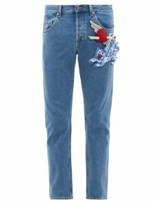 Gucci - Padded Appliqué Tapered Cotton Jeans - Mens - Blue