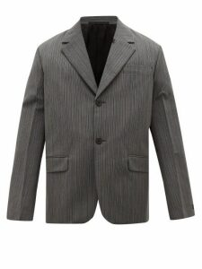 Prada - Single Breasted Wool Blend Jacket - Mens - Grey
