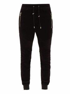 Balmain - Velvet Track Pants - Mens - Black