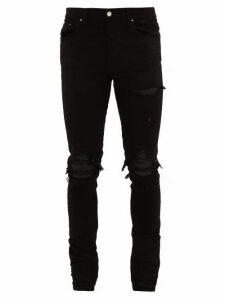 Amiri - Mx1 Leather Insert Distressed Jeans - Mens - Black