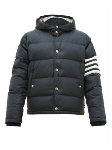 Thom Browne - 4 Bar Hooded Quilted Down Coat - Mens - Navy