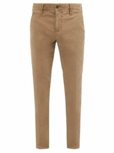 Incotex - Logo Embroidered Garment Dyed Cotton Blend Chinos - Mens - Camel