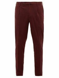 Incotex - Plaid Brushed Cotton Blend Twill Trousers - Mens - Burgundy