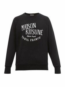 Maison Kitsuné - Logo Print Cotton Sweatshirt - Mens - Black