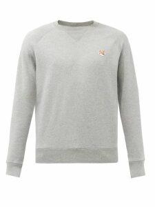 Maison Kitsuné - Fox Appliqué Cotton Jersey Sweatshirt - Mens - Grey