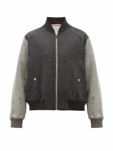 Thom Browne - Zip Through Wool Bomber Jacket - Mens - Grey