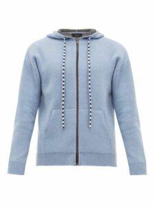 Alanui - Bandana Wool Blend Hooded Sweatshirt - Mens - Blue
