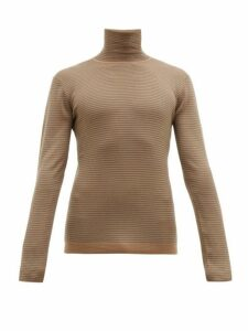 Rochas - Striped Roll Neck Wool Sweater - Mens - Beige