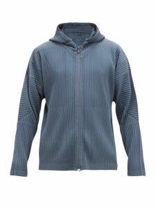 Homme Plissé Issey Miyake - Zip Through Pleated Hooded Sweatshirt - Mens - Blue