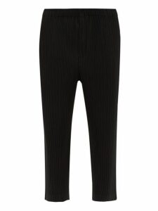 Homme Plissé Issey Miyake - Pleated Cropped Trousers - Mens - Black