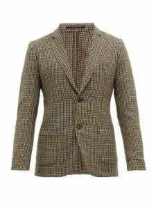 Officine Générale - Single Breasted Houndstooth Wool Blend Jacket - Mens - Green Multi