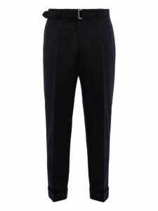 Officine Générale - Ollie Belted Turn Up Cuff Wool Trousers - Mens - Navy