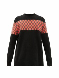 The Elder Statesman - Checkerboard Panel Cashmere Sweater - Mens - Black Red
