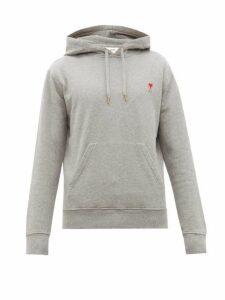 Ami - Logo Appliqué Cotton Hooded Sweatshirt - Mens - Grey