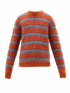 Marni - Striped Mohair Blend Sweater - Mens - Orange Multi