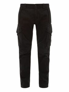 C.p. Company - Mid Rise Cotton Blend Cargo Trousers - Mens - Black