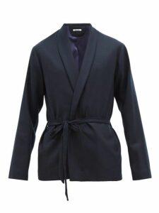 Hecho - Shawl Lapel Wool Herringbone Jacket - Mens - Navy
