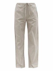 Hecho - Pinstriped Cotton Twill Trousers - Mens - Grey