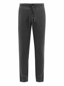 120% Lino - Drawstring Waist Slubbed Linen Twill Trousers - Mens - Charcoal