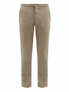 120% Lino - Drawstring Waist Linen Trousers - Mens - Grey