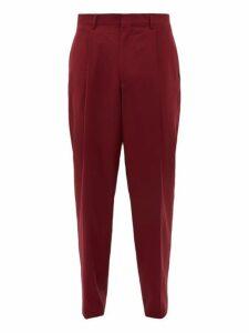 E. Tautz - Pleated Wide Leg Wool Twill Trousers - Mens - Burgundy
