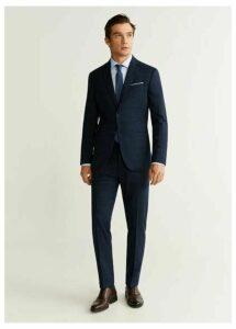 Slim fit check wool suit pants