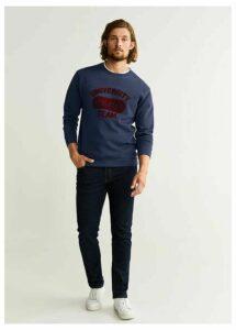 Textured embroidery varsity sweatshirt