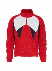 Ruched colourblock panel track jacket