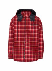 Reversible detachable hood check plaid shirt jacket