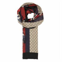 Gucci GG Jacquard Fine-knit Wool Scarf