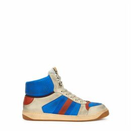 Gucci Screener Blue Leather Hi-top Sneakers