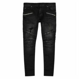 Balmain Dark Grey Distressed Skinny Jeans