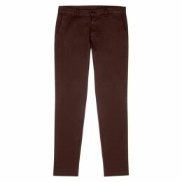 Emporio Armani Burgundy Stretch-cotton Chinos