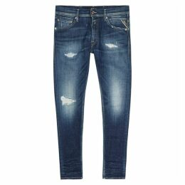Replay Jondrill Blue Distressed Skinny Jeans