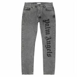 Palm Angels Grey Logo-embroidered Slim-leg Jeans