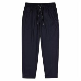 Kenzo Navy Tapered Wool Trousers