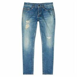Saint Laurent Blue Distressed Skinny Jeans